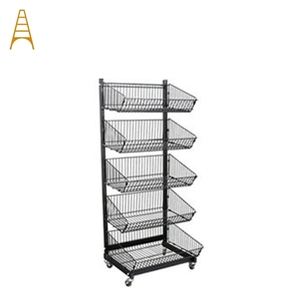 Wholesale Potato Chip Snack Metal 4 Wire Basket Display Rack Stand Shelf