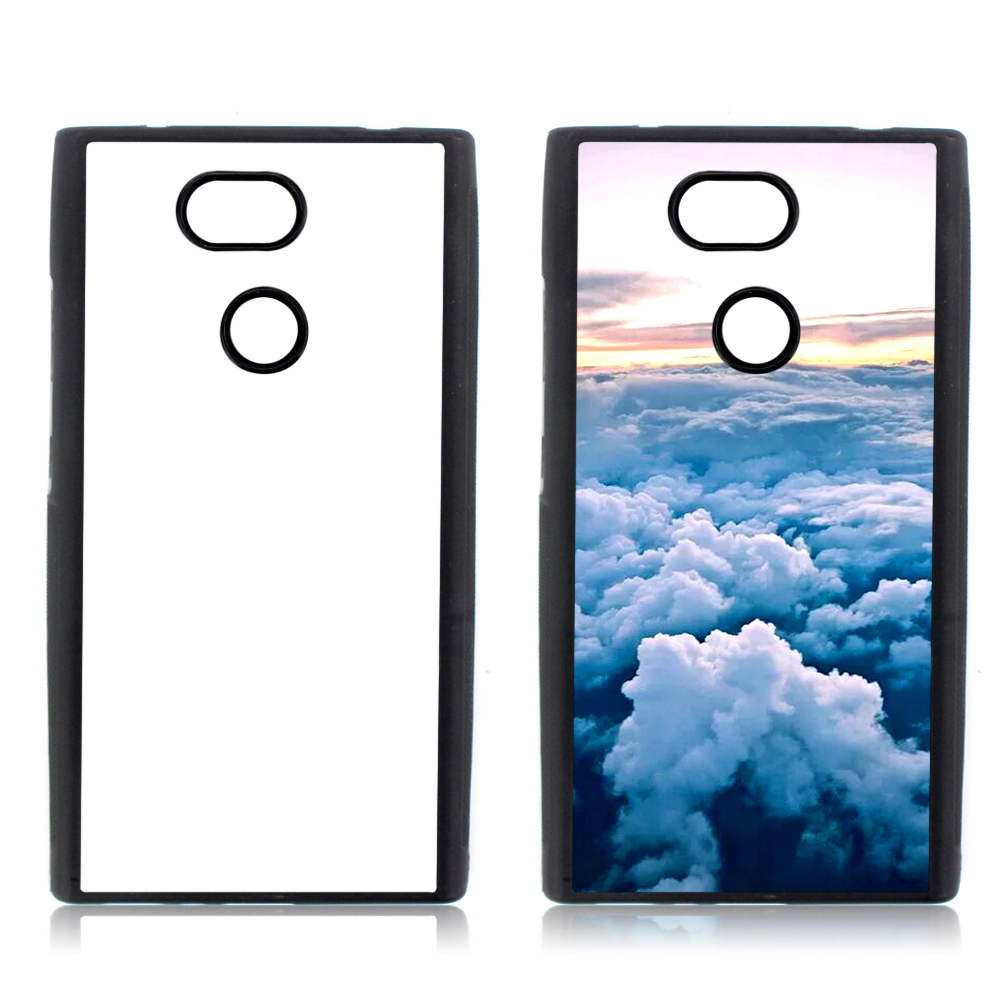 For Sony Xperia <strong>L2</strong> Sublimation Blank Silicone Mobile Phone Case With Metal Printing