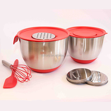 3 Stackable Grater Slicer Attachments Non-Slip Double Bonus Silicone Spatula Whisk Best Stainless Steel Mixing Bowl Set