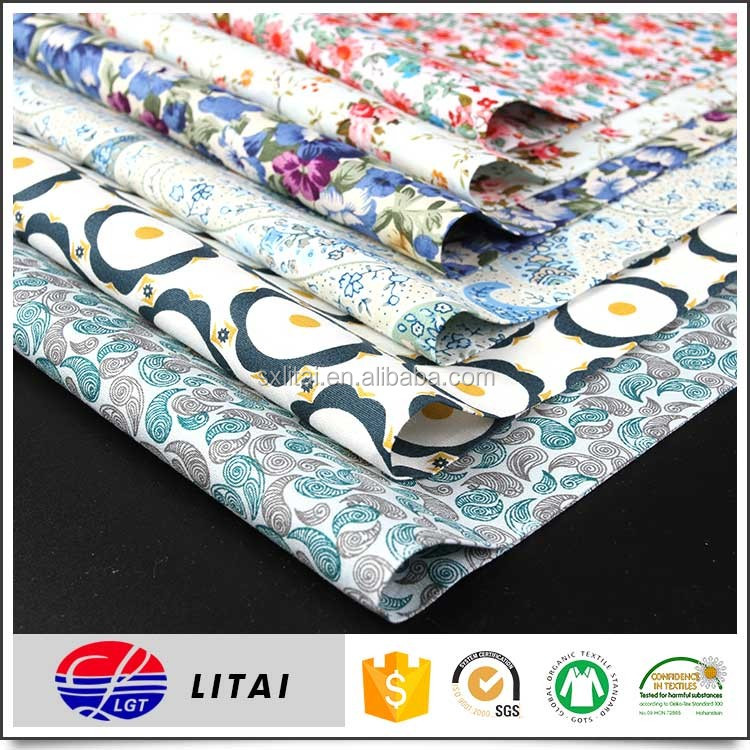 organic cotton fabric with rich printing designs for dress