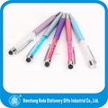 2014 bling metal assorted color crystal filled pen ball pen with touch stylus tip