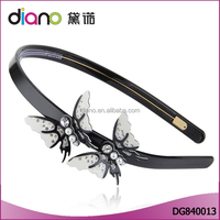 Wholesale top quality Korean style butterfly wioth mini white pearls hairbands for girls
