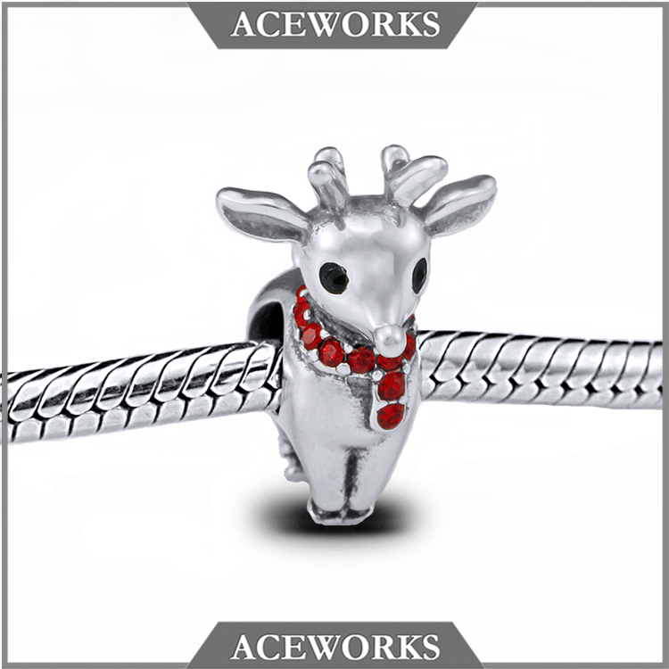 HQ 925 Pure Silver Elk Deer Charms Beads Christmas Charms