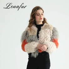 Wholesale Outdoor Winter Wool Jacket High Quality Women Real Rabbit Fur Fashion Coat