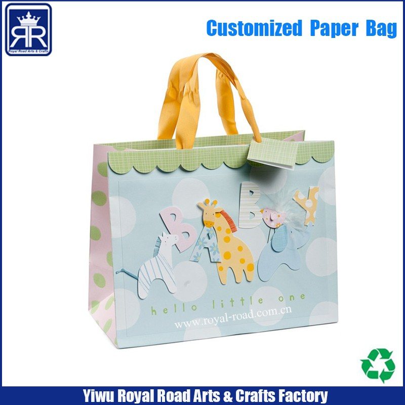 2017 Custom Logo Printed small minimum order quantity paper bag from yiwu suppliers