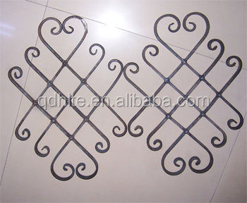 Decorative wrought iron rosette forged panels