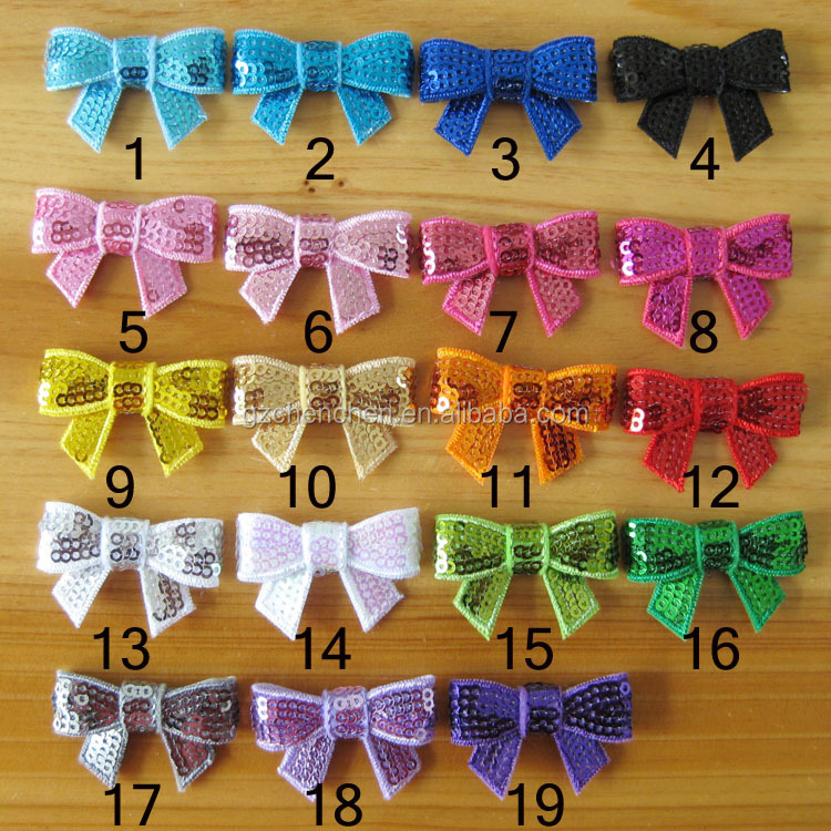 sequin bow flower clip for kids hair accessories
