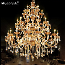 MEEROSEE Large Cheap Crystal Chandeliers Villa Big Chandelier For High Ceiling Luxury Project Lighting MD85494-L30