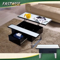 modern glass top storage and lift up coffee table for living room