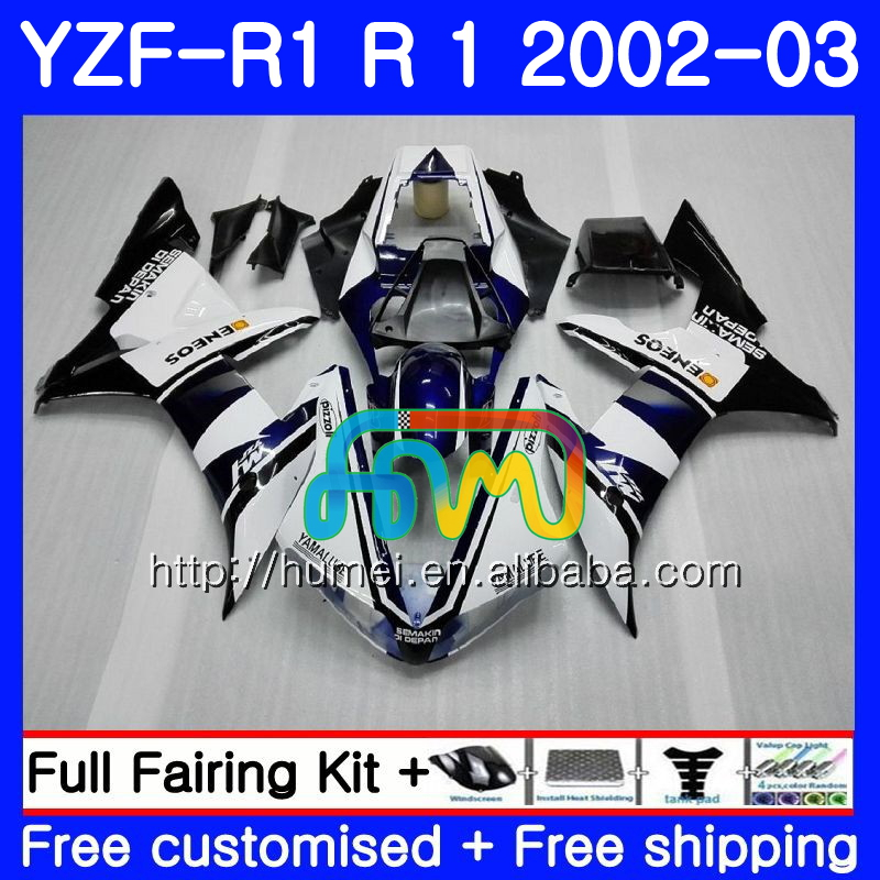 Body For YAMAHA YZF white black 1000 YZFR1 <strong>02</strong> <strong>03</strong> YZF-1000 Bodywork 99HM13 YZF R 1 YZF <strong>R1</strong> <strong>02</strong> <strong>03</strong> YZF1000 YZF-<strong>R1</strong> 2002 2003 <strong>Fairing</strong>