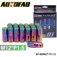 AUTOFAB--D1 SPEC NEO CHROME JDM WHEEL LUG NUTS M12 X 1.5MM FOR TOYOTA HONDA FORD AF-660NUT-7C-1.5