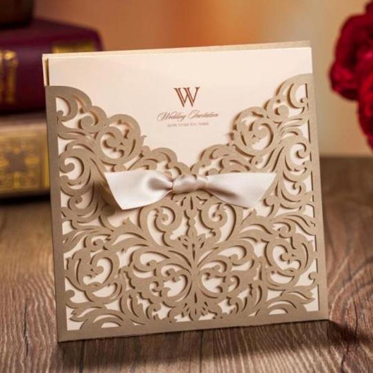 Gold Cheap Laser Cut Arabic Wedding Invitation Cards - Buy Wedding ...