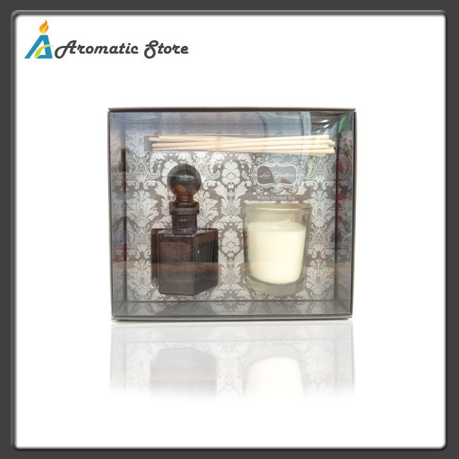 Aroma scented oil diffuser sticks with candle jar set