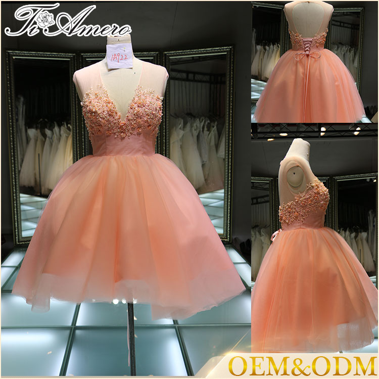 bridesmaid short sexy dresses Pink ball gown mini wedding dress
