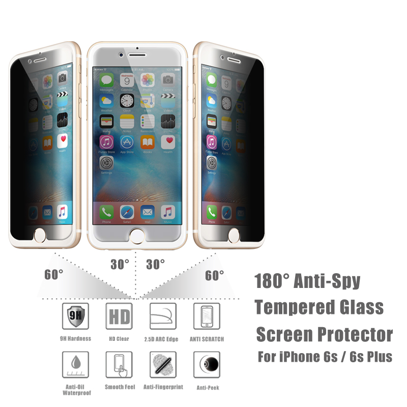 Explosion Proof Ultra Smooth 9H Anti-Peek 4 Way 360 Degree Premium Tempered Glass Privacy Screen Protector for iPhone 6 6 Plus
