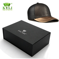 Megnetic custom printed cardboard flat pack baseball cap& hat packaging box