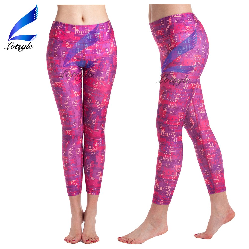 Girls Printed Red Sports Leggings Yoga Pants Tights