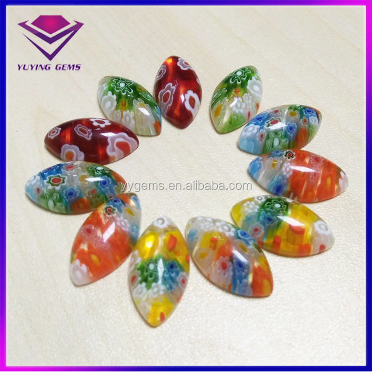 Wholesale Mix Colors Millefiori Glass Marquise Glass Cabochon Beads