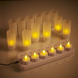 Set of 12 LED Rechargeable Tea Light Candles / LED Rechargeable Votive Candles with Yellow Flicker Flame