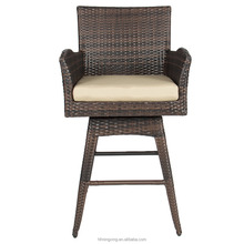 Outdoor Patio Furniture All-Weather Brown Wicker Swivel Bar Stool with Cushion