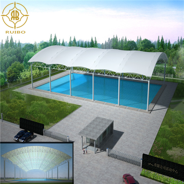2018 latest Outdoor swimming pool sunshade roof cover marque membrane structure with pvdf canopy