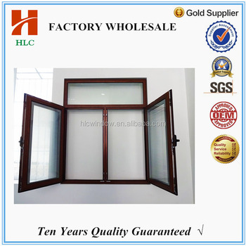 China supplier latest design alluminium wooden grain design tilt and turn window