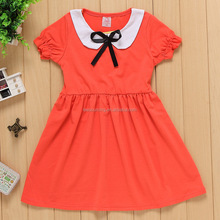 New fashion bow not short sleeve kids clothes girl dress