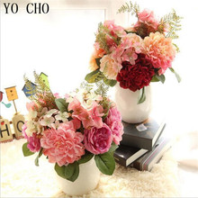 YO CHO wholesale artificial peony flower Wedding home decorwhite pink big peony head silk artificial peony Dahlia flower bouquet