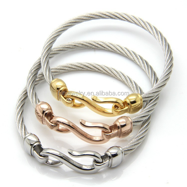 Latest Hook Bracelet Twisted Cable Wire Bangle Stainless Steel Fish