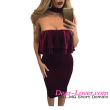 Winter Dress Wholesale Cheap Burgundy Velvet Off Shoulder Choker Neck Midi Dress