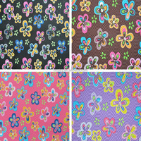 Pvc Colorful Flower Printing Leathers PVC