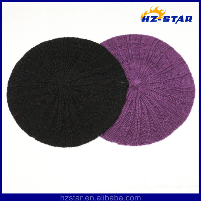 HZM-14011 New pattern acrylic fashion cap purple pretty beret hats for women