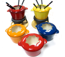 cast iron fondue set hot pot