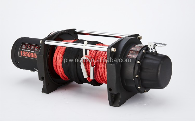 top quality13500lb electric winch with aluminum fairlead synthetic rope