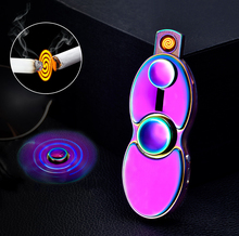 2017 hot selling new deisn heat wire gyro rechargeable ciggerette cigar lighter hand spinner USB Arc lighter with led