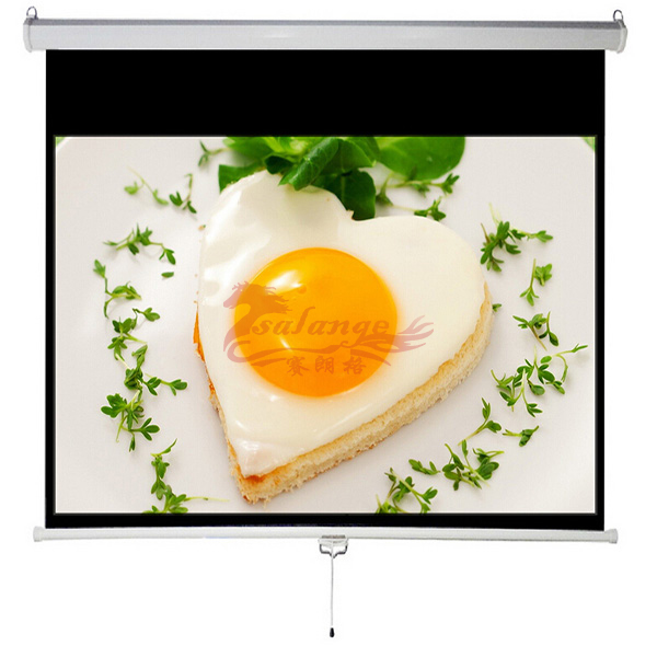 Best Quality Manual Type Projector Screen with Ratio 4:3 100 inch Projector Curtain Size 203*152cm White Screen by salange
