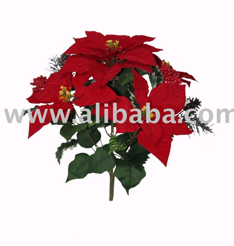 Artificial flower, christmas flower, Poinsettia Bush by 9 (39694)