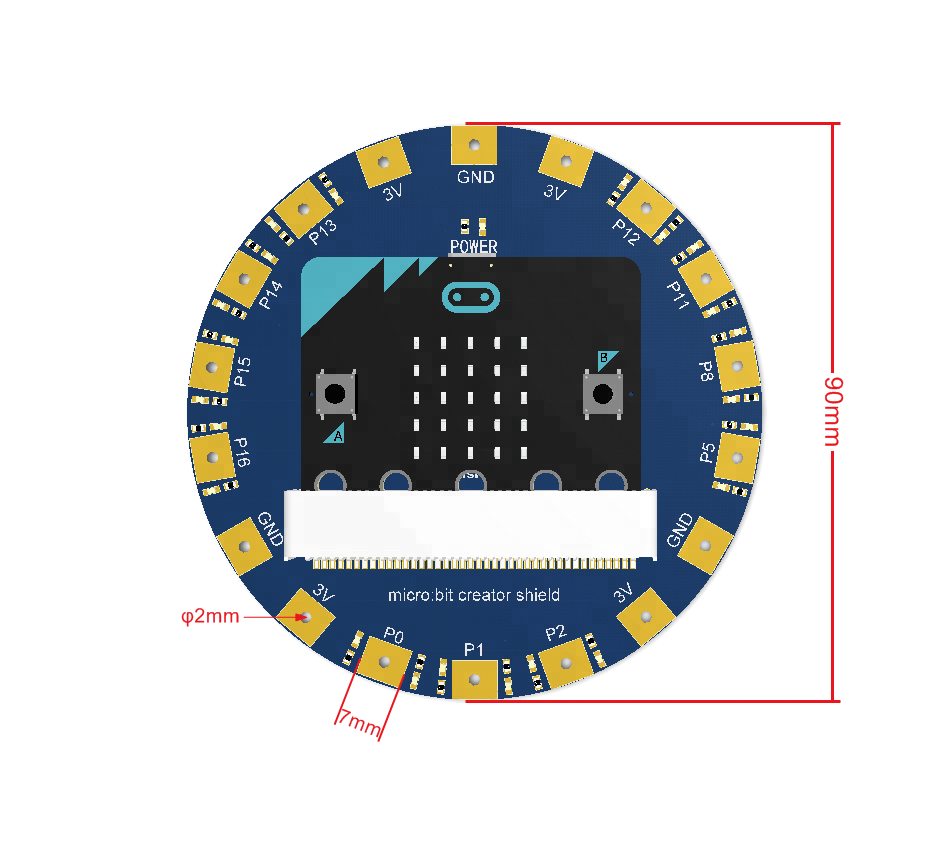 micro:bit creator shield round Expansion board STEM electronic sticker wearable shield