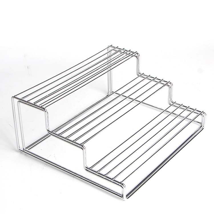 Extended Stainless Steel 3 Tier Cabinet Spice Rack Kitchen Step Shelf Organizer -Chrome