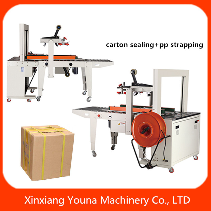 automatic adhesive tape carton sealer with pp belt binding machine