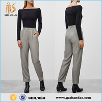 The Elegant Women Solid Color High Waist Long Breathable Cotton Formal Trousers