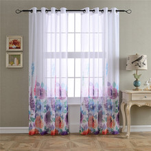 Polyester romantic printed voile drapery flower curtain