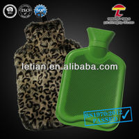 BS natural rubber green hot water bag with animal plush cover