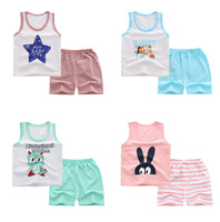 cool cute casual sleeveless shorts suit cheap sale korean clothes kids wholesale baby clothing 2018