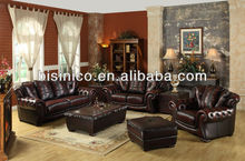Royal classical American leather sofa set with copper nail (BF01-20041)