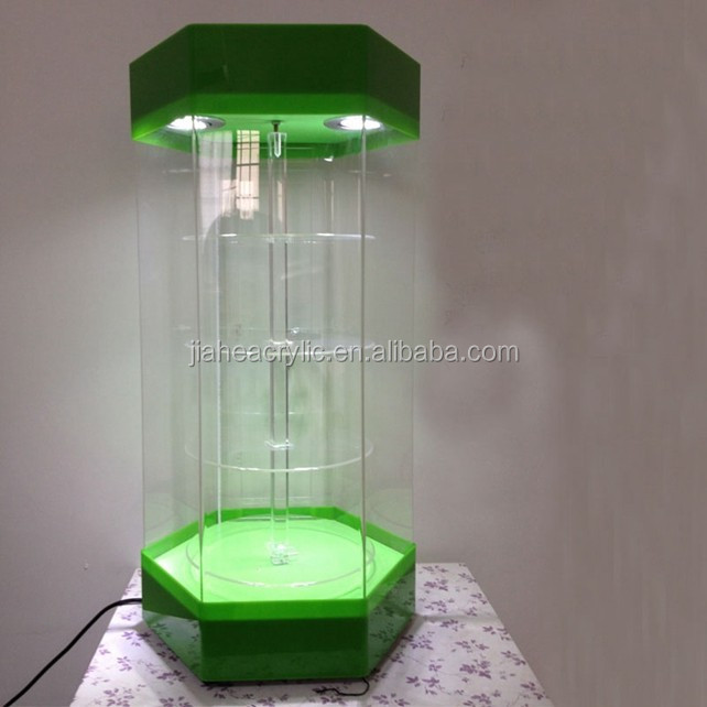 acrylic display stand rotating with LED /LED acrylic countertop rotating jewelry display stand
