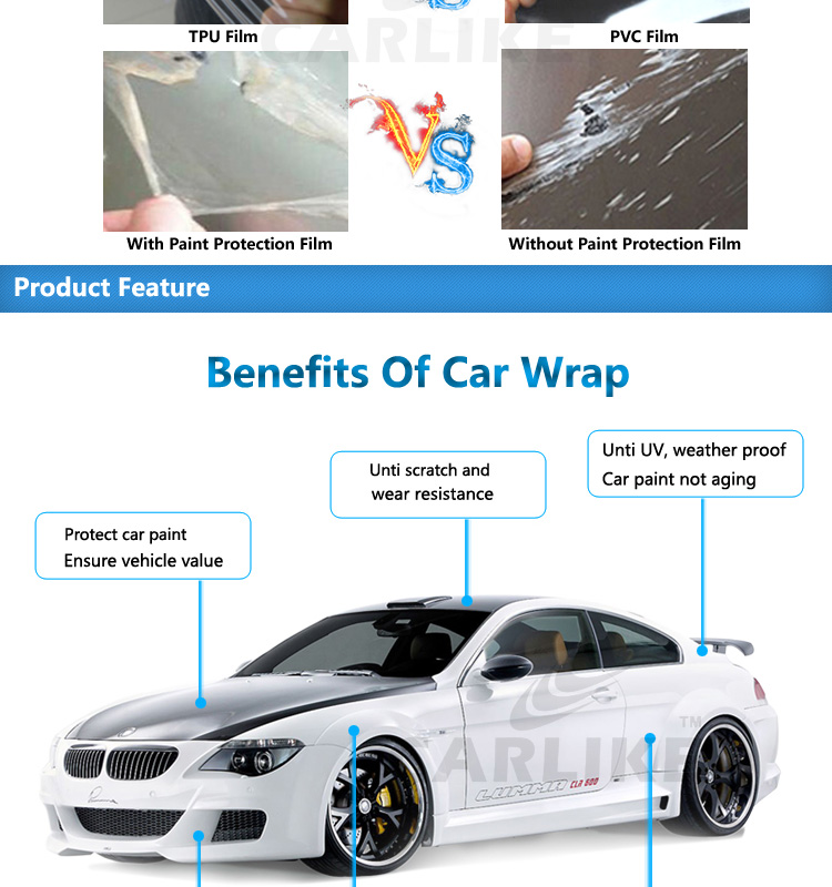 CARLIKE Auto-repair Unti Scratch Transparent TPU PPF Car Paint Protection Film