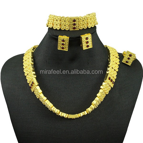 gold Newest design fashion jewelry 18k golden lady party wedding jewelry set