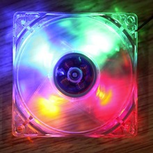New 12cm PC Computer Clear Case Quad 4 Blue/RED/Colorful LED Light 9-Blade CPU Cooling Fan 12V Wholesale
