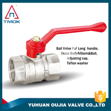 fully threaded full port ball valve brass long aluminum/zinc alloy handle ball valve water tank valve